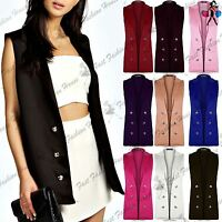 Womens Ladies 0pen Sleeveless Military Gold Button Collared Coat Jacket Blazer