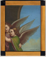 C. 1860 Angels, fragment of an Oil painting, with a handmade wooden frame