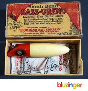 SOUTH BEND BASS-ORENO Vintage Glass Eyed Wooden Fishing Lure w/ Box