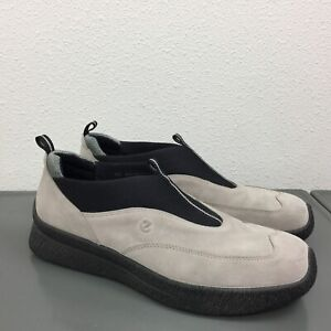 Men's Ecco Size 42 = 8-8.5 Slip On Comfort Shoes Loafers Light Gray Black Suede