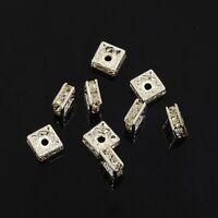 12 Perles Intercalaires carrées 6 x 6mm en métal argenté et Strass