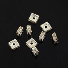 25 Perles Intercalaires carrées 6 x 6mm en métal argenté et Strass