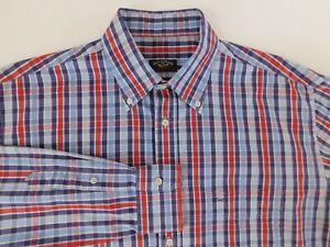 Paul & Shark Yachting Mens Designer Blue Red Plaid Casual Shirt 43