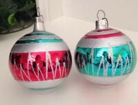 Two Vintage Glass Ornaments Christmas Tree Glitter Stenciled Red Green White