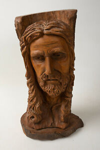 Bust Portrait Jesus Christ Hand Carved Sculpture Wood (N3L) Cliff Carnell Unsign
