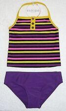 BNWT M&S Girls Purple/Pink/Yellow Tankini Set 2pc Swimming Costume Swimsuit 6 yr