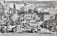 Lille en 1792 Bombardement Rare Gravure Révolution Française Nord Autriche