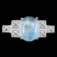 Unheated Oval Aquamarine 10x8mm Cz 14K White Gold Plate 925 Sterling Silver Ring