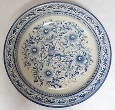 """Lg Italian Majolica Pottery Wall Charger Platter Bowl w/ Lion Blue and white 19"""""""