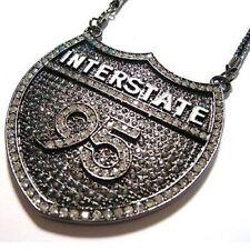 HipHop Style Black Diamond Pendant INTERSTATE 95 Statement 925 Sterling Silver