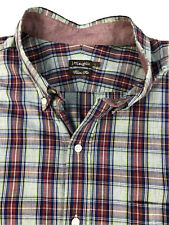 J Mclaughlin Gray & Red Plaid Button Down Shirt Size Large Trim Fit