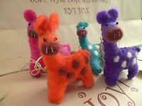Fair Trade Felt Giraffe Llama Alpaca  Keyring Bright Colours Gift Hand Crafted