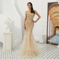 Luxury Beaded Crystals Mermaid Champagne Evening Party Dress Prom Celebrity Gown