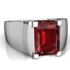 925 Sterling Silver Natural Garnet Gem Stone Ring Men's Jewelery Us Size 7 8 9