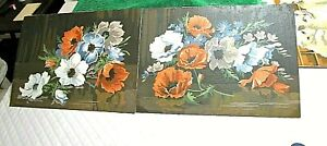 Vtg 2pc Paint by Numbers 14x10 FLoral Hibiscus Brown White Orange Blue