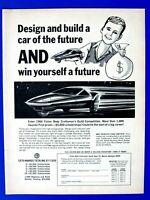 "Fisher Body 1966 Design Car Of The Future Contest Original Print Ad 9 x 11"""