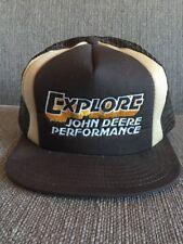 Vtg Explore John Deere Performance Mesh Trucker Style Brown Snapback Hat 80's