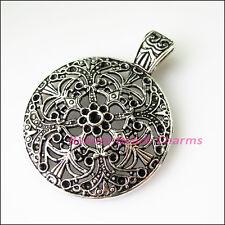 1Pc Tibetan Silver Flower Round Bail Bead Fit Bracelet Charm Connector 46x59.5mm