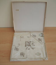 Vintage Irish Linen Embroidered Tablecloth & 4 Napkins Square Gold Medal Brand