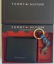 Tommy Hilfiger Mens Designer SlimLeather Wallet and Key Fob Gift Set Black