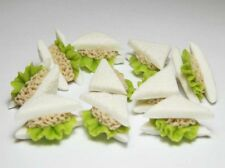 Set of 10 Dollhouse Miniature Tuna Sandwiches * Doll Mini Food Bakery Bread