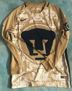 Team Pumas Mens Official Soccer Jersey Nike Size M Gold Mural 2017 Long Sleeve
