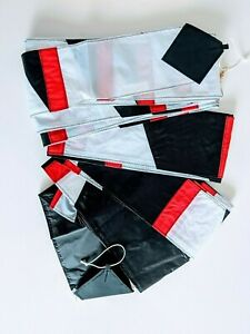 "2 pkgs- 100' x 5"" wide Hemmed Ripstop Transition Tails. Black-White+Red. Premier"