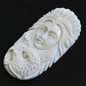 6.7cm Sculpté Manuellement Indien Aigle Bison OS Perle Cab Cabochon