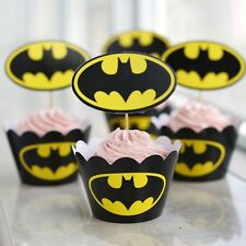 48 Pcs Set, 24 Batman Cupcake Wrappers & 24 Toppers Kids Birthday Party Sup