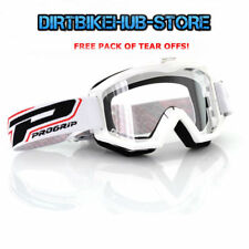 PROGRIP 3201 2017 RACELINE MOTOCROSS MX GOGGLES WHITE WITH TEAR OFFS
