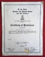 (Vtg 1964) Vietnam/ US Army Artillery Proficiency Certificate/ Fort Sill Test