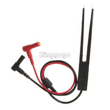 Reliable Test Clip Meter Lead Probe Great SMD Multimeter Tweezer Capacitor Black