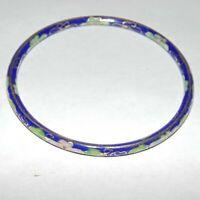 Vintage blue floral cloisonne enamel Chinese Asian style bangle bracelet