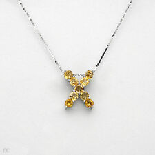 Genuine Citrine in 925 Sterling Silver Initial X Letter Necklace With 2.25ctw