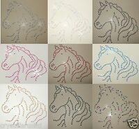 HORSE HEAD IRON-ON RHINESTONE CRYSTAL BEAD CUSTOM BLING TSHIRT TRANSFER PATCH