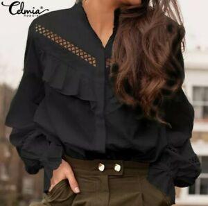 Women black Ruffle Top Victorian Shirt western country rodeo size XXL Blouse
