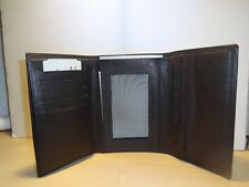 MENS - NEW TRIFOLD BLACK LEATHER WALLET
