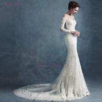 Elegant Lace Appliques Pearls Wedding Dress Mermaid White/Ivory Bridal Gown New