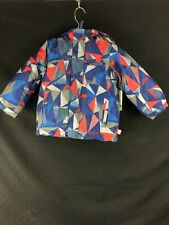 HOT PAWS Boys Winter Coat/Jacket Blue with red/grey geometric pattern Size 4 NWT