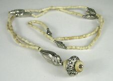 Necklace String Strand Silver Bone Beads 38 Inch Pendant India Ethnic Tribal