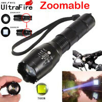 90000LM T6 Zoomable 5-Modes Tactical 18650 Flashlight Focus Torch Light NEW