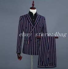 Men's Double Breasted 2PCS Suits Coat Pants Stripe Blazers Wedding Groom Formal