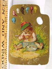 Victorian Die-Cut Painter Pallet Adorable Cherub Eating Big Pot Spoon Hat F37