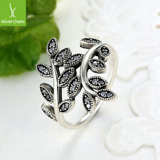 2017 NEW 925 Silver Ring With Sparkling Bow Leaves Fit Women Fashion Jewelry