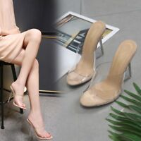 Women Stiletto Transparent High Heel Slipper Sandals Peep Toe Shoes Party Slides