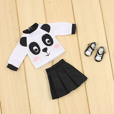 """3pcs The New Summer Panda Printed T-shirt And Skirt For 12""""Blythe Doll"""