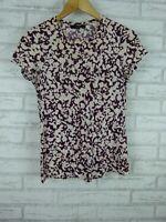 Saba Ladies Tee, T-Shirt Top Maroon, Cream print Sz XXS, 6
