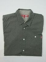 Vans Mens Shirt Size L Short Sleeve Button Up Regular Fit Grey Black Check