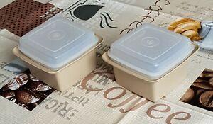 Tupperware Retro Vintage Butter Dose Box Marmelade Joghurt Eis 861 862 beige