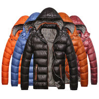 New Men's Warm Duck Down Coat Quilted Padded Puffer Jacket Hooded Bubble Parka